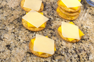 Crackers and Cheese with Milk