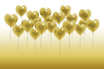 Herz Ballons Gold Karte
