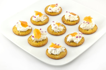 Crackers with Cream Cheese and Smoked Salmon