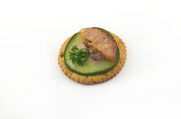 Crackers with Cucumber Sausage and Parsley