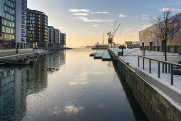 Oslo seaside harbor with crane terminal