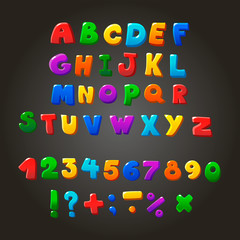 Multicolored kids Vector Font,  letters, numbers and