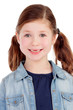 Funny little girl toothless with pigtails