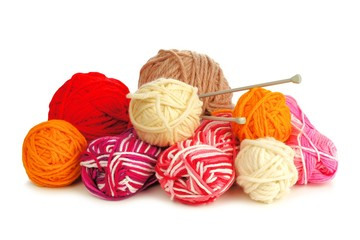 Set of colorful balls of yarn for knitting over white