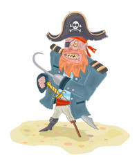 Angry Pirate Vector Illustration