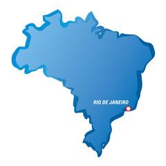 Vector drawing map of Brazil and Rio de Janeiro