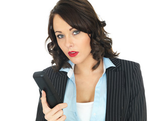 Young Business Woman Using a Telephone