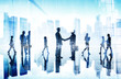 Business People Handshake Agreement Cityscape Corporate Concept