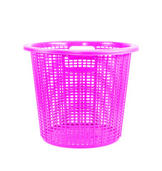 Pink plastic basket isolated on white background.