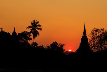 Sunset and Pagoda