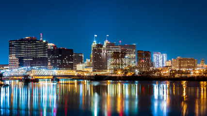 Newark, NJ cityscape by night