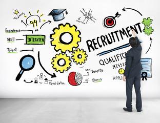 Businessman Writing Ideas Recruitment Professional Concept