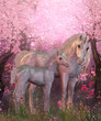 Leinwanddruck Bild - White Unicorn Mare and Foal