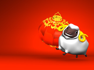 Smile White Sheep, New Year's Lantern On Red Text Space