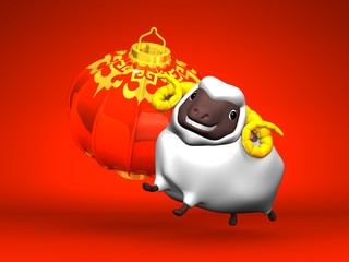 Smile White Sheep, New Year's Lantern On Red Background