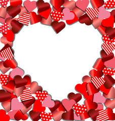 Heart frame from red paper for Valentine card