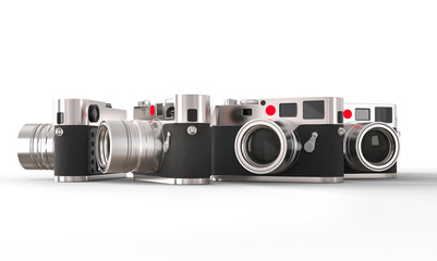 Set of great retro styled photo cameras