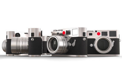 Four retro style photo cameras - studio lighting