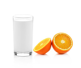 Fresh Glass of Milk and Half of juicy orange isolated on white b