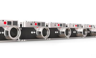 Row of beautiful photo cameras