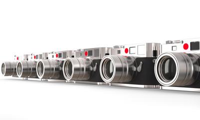 Row of digital cameras - angle view
