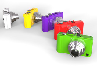 Brightly colored compact digital photo cameras