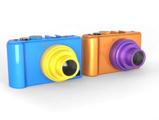Blue and orange compact digital photo cameras