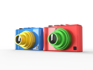 Blue and red compact digital photo cameras