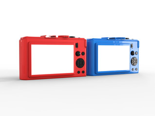 Blue and red compact digital photo cameras - back view