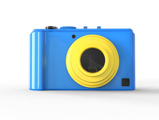 Blue compact digital photo camera - front view