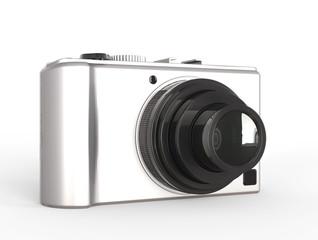 Metallic compact digital photo camera - front view