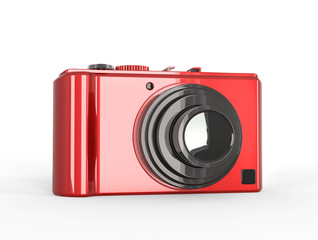 Red compact digital photo camera with black lens