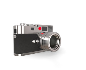 Retro looking photo camera with leather grip