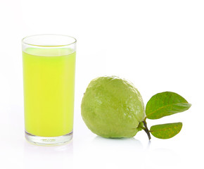 Guava and guava juice (tropical fruit) on white background