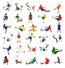 Collection of soccer players, Vector illustration