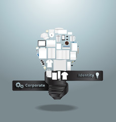 Corporate identity templates with creative light bulb idea