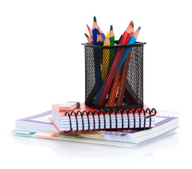 Colorful pencils and notepads