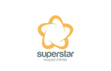 Logo Abstract Star Five point infinity loop vector design