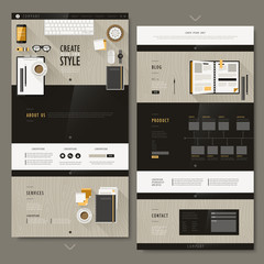 one page website design with modern workplace scene