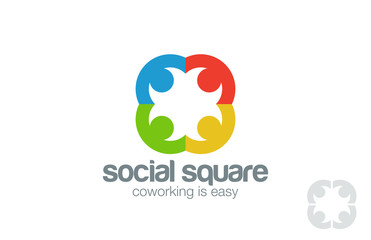 Social Logo design vector template. People holding hands
