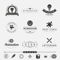Retro Vintage Labels Hipster Logo design typography