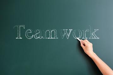 teamwork written on blackboard