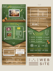 one page website design with chalkboard and wooden wall