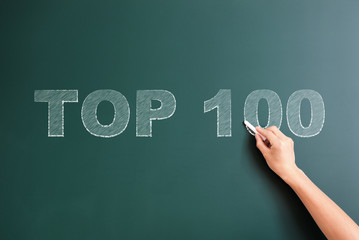 top 100 written on blackboard