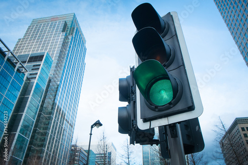 Green, Yellow and Red Traffic Light in the London city.. - 76344223