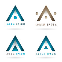 Set of dynamic logos with arrow or triangle shape