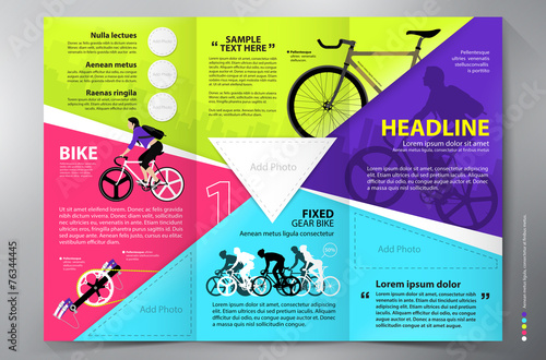 Brochure leaflet design tri-fold vector template. - 76344445