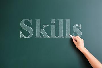 skills written on blackboard