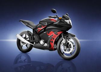 Motorcycle Motorbike Bike Riding Rider Contemporary Black Concep
