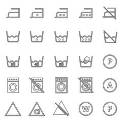 Laundry line icons on white background